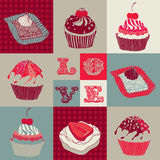 Liefde cupcakes. Stock Foto's