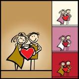 Liefde, de achtergrond van de Valentijnskaart met hart Stock Afbeeldingen