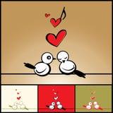 Liefde, de achtergrond van de Valentijnskaart met vogels Royalty-vrije Stock Afbeeldingen