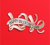 Liefde - de dag van Gelukkig Valentine Rode groetkaart Royalty-vrije Stock Fotografie