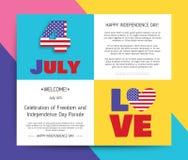 Liefde de V.S., Amerika De gelukkige Dag van de Onafhankelijkheid stock illustratie