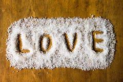 Liefde die in Zout wordt geschreven Stock Foto