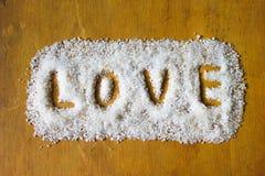 Liefde die in Zout wordt geschreven Royalty-vrije Stock Foto's