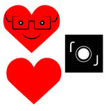 Liefde en camerapictogram Stock Foto