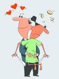 Liefde en geld stock foto