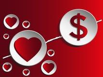 Liefde en geld Stock Afbeeldingen