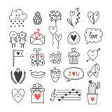 Liefde en harten Hand getrokken reeks leuke krabbelelementen Schetsinzameling voor huwelijk of de Dagontwerp van Valentine ` s Stock Foto's