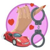 Liefde en hartstocht om wenshandcuffs te onderwerpen stock illustratie