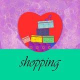 Liefde en hartstocht voor het winkelen stock illustratie