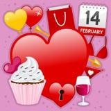 Liefde en Hartstochtspictogrammenachtergrond Royalty-vrije Stock Foto's