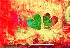 Liefde en Romaans Creatieve kunstachtergrond Hart op de muur wordt geschilderd die royalty-vrije stock foto