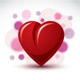 Liefde en Romaans symbolisch voorwerp, Dimensionaal purper hartdecor Stock Fotografie