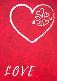Liefde en slechts liefde op rode achtergrond stock foto's