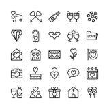 Liefde en Valentine Line Vector Icons 2 Stock Foto's