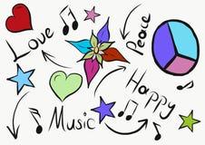 Liefde en vredes de ster van de beeldverhaalbloem vector illustratie