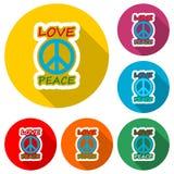 Liefde en vredes het het ontwerppictogram van de hippiestijl of het embleem, kleur plaatst met lange schaduw vector illustratie
