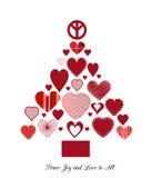 Liefde en vredeskerstmisboom Stock Foto