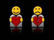 In liefde/gebroken hart Stock Afbeeldingen