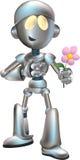 liefde geslagen robot met bloem Royalty-vrije Stock Afbeelding