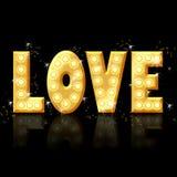 Liefde - gouden brieven met gloed Royalty-vrije Stock Foto