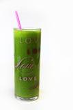 Liefde Groen Juice Glass Vertical Stock Afbeeldingen
