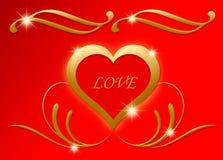 Liefde in hart met gouden floraachtergrond voor de dag van Valentine Stock Foto