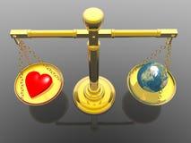 Liefde helemaal over de wereld Stock Afbeelding