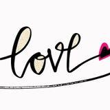 Liefde Het modieuze borstel van letters voorzien Hand getrokken ontwerpelementen Perfect ontwerp voor uitnodigingen, romantische  Stock Foto's