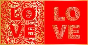 Liefde het van letters voorzien met abstract bloemen rood en gouden patroon variatie Royalty-vrije Stock Afbeelding