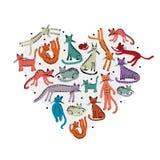 Liefde, katten kinderachtige stijl Schets voor uw ontwerp Royalty-vrije Stock Foto