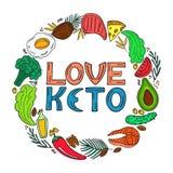 Liefde Keto - hand getrokken inschrijving Ketogenic dieet om kader in krabbelstijl Het lage carburator op dieet zijn Paleovoeding royalty-vrije illustratie