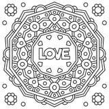 Liefde Kleurende pagina Vector illustratie Royalty-vrije Stock Foto's