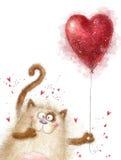 Liefde Leuke kat met rood hart Kat in liefde De prentbriefkaar van de valentijnskaartendag Een vectorillustratie Ik houd van u Ge Stock Fotografie