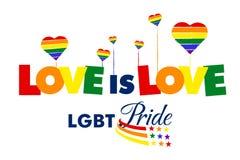 Liefde in liefdelgbt Trots stock afbeelding