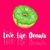 Liefde life Donuts Hand het getrokken kalligrafische van letters voorzien Vectorkaartillustratie vector illustratie