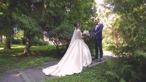 In liefde loopt een jong huwelijkspaar in het park Een echtgenoot met zijn vrouw in witte bruid draagt een gang in aard stock videobeelden