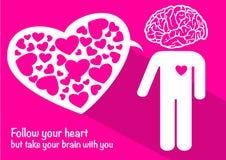 Liefde met hersenen en hart de dag van de gelukkige valentijnskaart Royalty-vrije Stock Foto