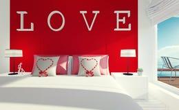 Liefde-modern slaapkamerbinnenland voor de dag van Valentine ` s Royalty-vrije Stock Afbeeldingen