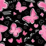 Liefde naadloos patroon met vlinder. Royalty-vrije Stock Afbeelding