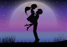 Liefde onder het maanlicht, Vectorillustraties Royalty-vrije Stock Foto