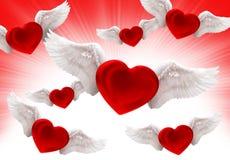 Liefde op de lucht rode achtergrond Stock Afbeeldingen