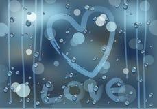 Liefde op een regenachtig glas Royalty-vrije Stock Foto