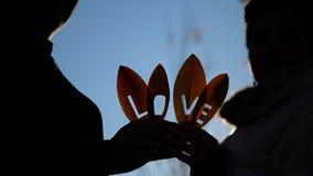 Liefde op het Bladerensilhouet stock videobeelden