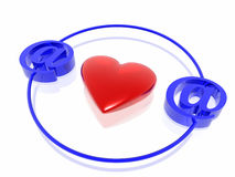 Liefde op Internet Stock Foto