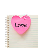 Liefde op roze hart Royalty-vrije Stock Afbeeldingen