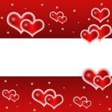 Liefde, romantische, rode achtergrond met leuke harten vector illustratie
