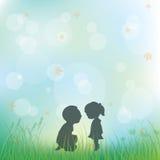 Liefde tijdens kinderjaren, Vectorillustraties Stock Fotografie