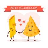 Liefde tussen deegwaren en kaas stock illustratie