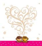 Liefde tussen koffie en thee Stock Afbeelding