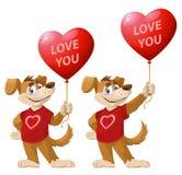 Liefde u De grappige beeldverhaalhond, symbool van het jaar 2018, houdt hoort Stock Fotografie